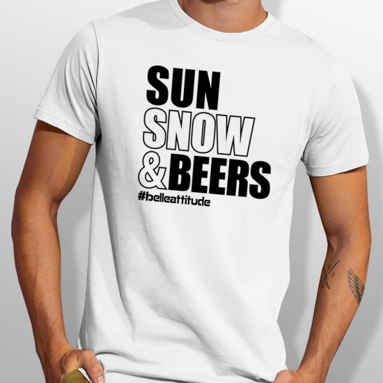 Tshirt SUN SNOW AND BEERS homme