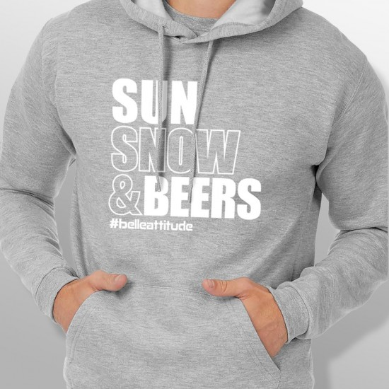 Sweat Capuche ski SUN SNOW AND BEERS homme