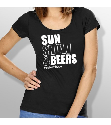 Tshirt ski SUN SNOW AND BEERS femme